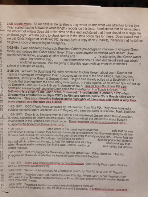 Second of three pages I am posting re:  arrest of Busch and Green in Flint in the weeks before my brother's abduction