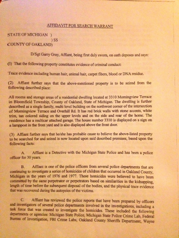 Affidavit for Search Warrant, p.1 of 8