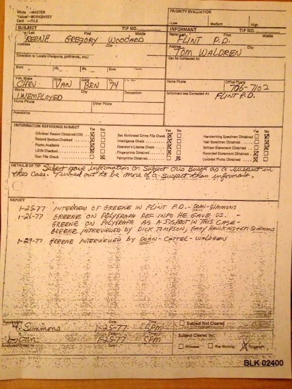 Flint PD on Greg Green, 1-25/29-77